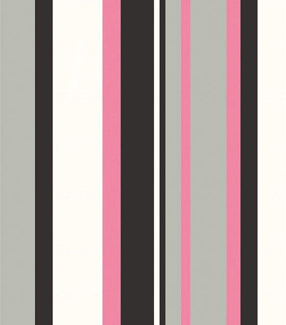 Papel de Parede Algodão Doce Listrado Preto Cinza Rosa Branco