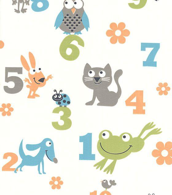 Papel de Parede Números e Bichos Colorido