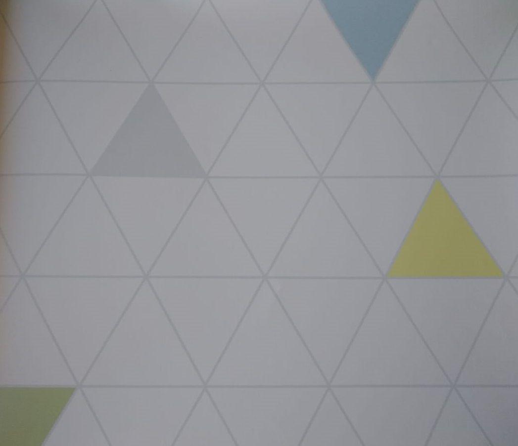 Papel de Parede Triângulo Azul e Amarelo