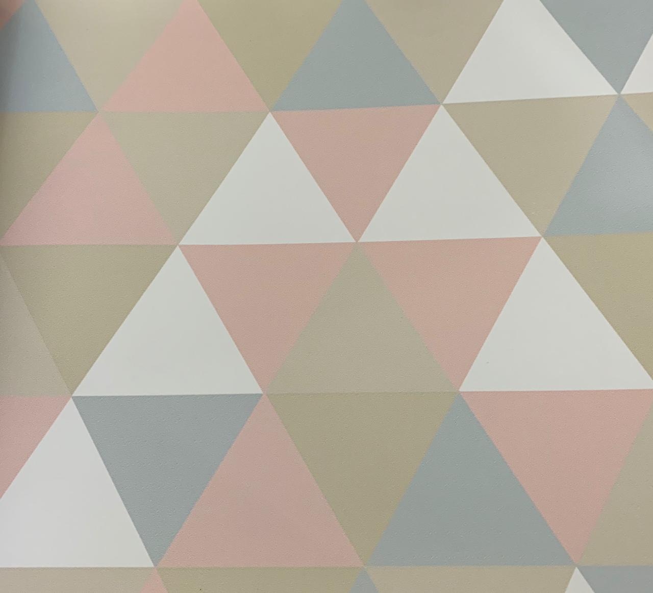 Papel de Parede Triângulo Branco,Rosa,Azul e Bege