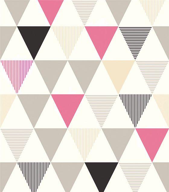 Papel de Parede Algodão Doce Triângulos Rosa Preto Bege Cinza
