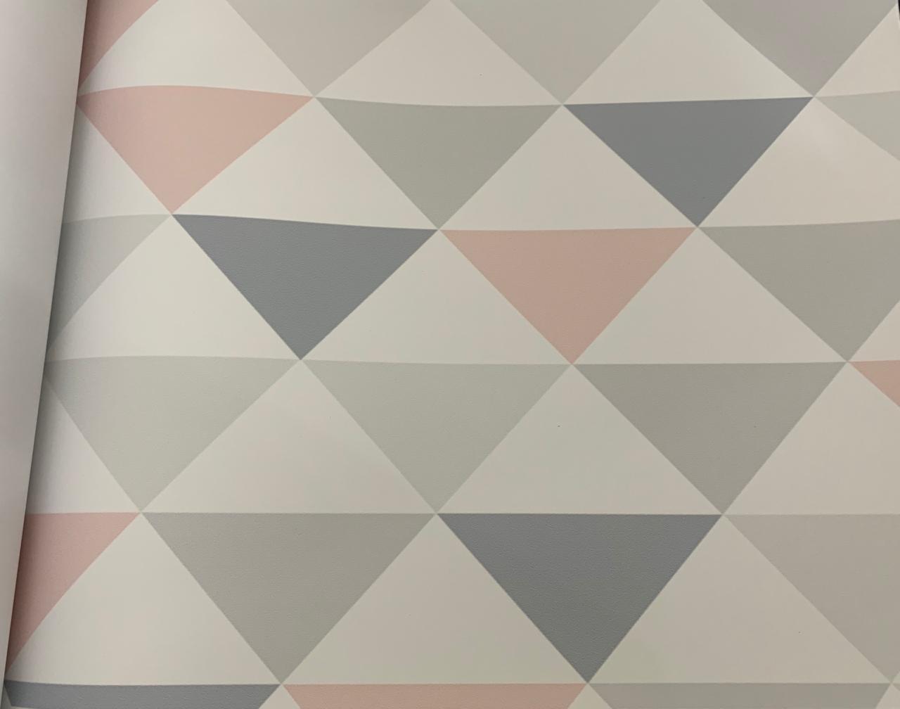 Papel de Parede Triângulo Rosa e Cinza