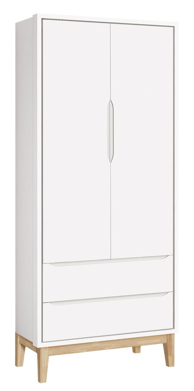 Roupeiro Classic 2 Portas Branco Fosco Pés em Madeira Natural