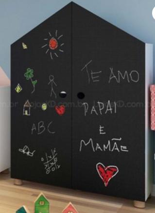 Roupeiro Infantil 2 Portas com Quadro Negro - Coleção Casinha