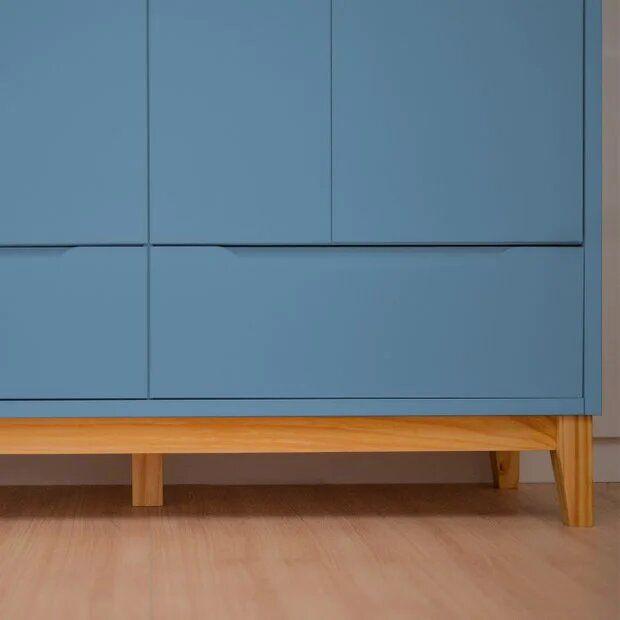 Roupeiro Infantil 4 portas e 2 gavetas - coleção Amor Perfeito azul