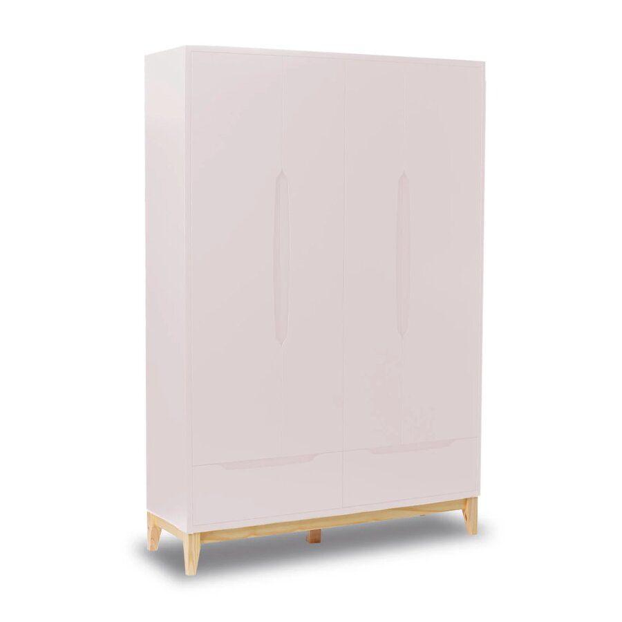 Roupeiro Infantil 4 portas e 2 gavetas - coleção Amor Perfeito Rosê