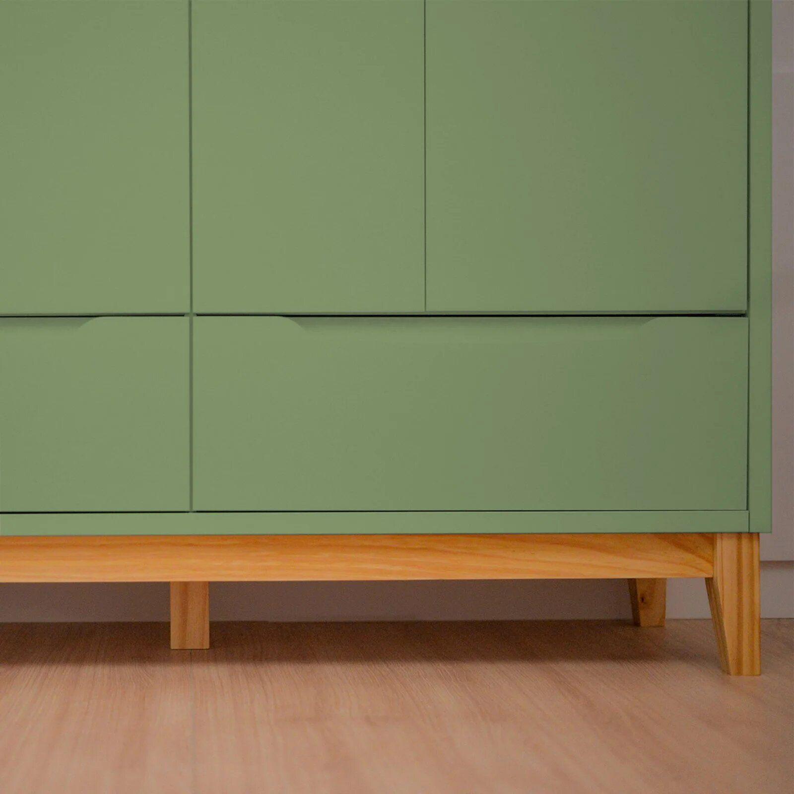 Roupeiro Infantil 4 portas e 2 gavetas - coleção Amor Perfeito verde