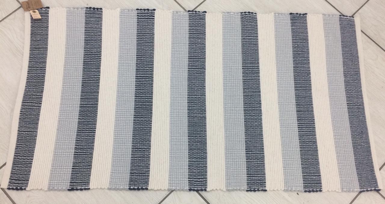 Tapete Retangular de Algodão Listras Branco,Cinza,Azul Marinho