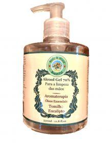 Alcool Gel 70% - Para a limpeza das mãos - com óleos essencial de Eucalipto e Tomilho 350ML