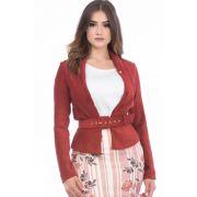 Blazer Vermelho com Cinto Via Tolentino Moda Evangélica