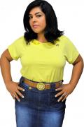 Blusa Amarela Malha Viscolycra com Renda Moda Evangélica