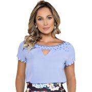 Blusa Feminina Azul Bordada Clara Rosa Moda Evangélica