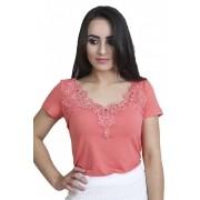 Blusa Feminina Malha Coral Decote de Bico Sofina Moda Evangélica