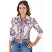 Camisa Feminina Estampada Mangas 3/4 Via Tolentino Moda Evangélica