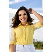 Camisa Manga 3/4 Amarela Via Tolentino Moda Evangélic