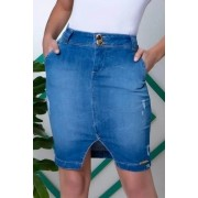 Saia Jeans Bolso Faca e Bordado No Bolso Traseiro