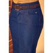 Saia Jeans Justa com Cinto Via Tolentino