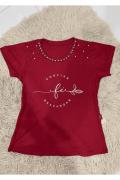 T-shirt Feminina com Bordado em Pedraria