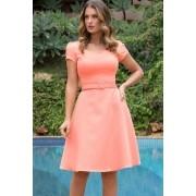 Vestido Godê Lady Like com Cinto Coral Moda Evangélica