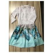 Vestido Godê Crepe Sublime Barrado Puro Sharmy Moda Evangélica Infantil | Bela Kids