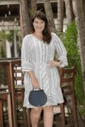 Vestido Soltinho em Linho com Jogo de Listras Via Tolentino