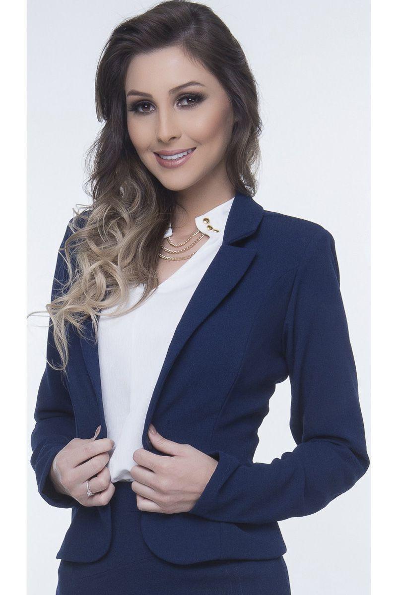 Blazer Crepe Azul Escuro Via Karuso Moda Feminina Evangélica Executiva
