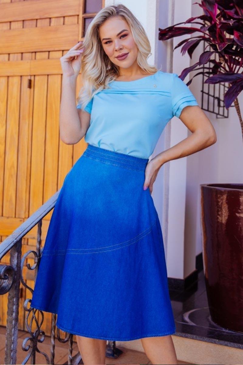 Blusa Azul Com Detalhe Pregas Via Tolentino
