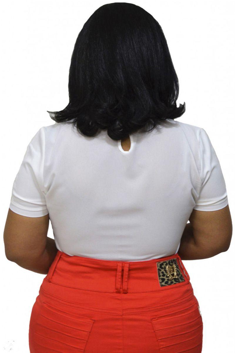 Blusa Crepe Fontanne com Guippir na Gola Moda Feminina Evangélica