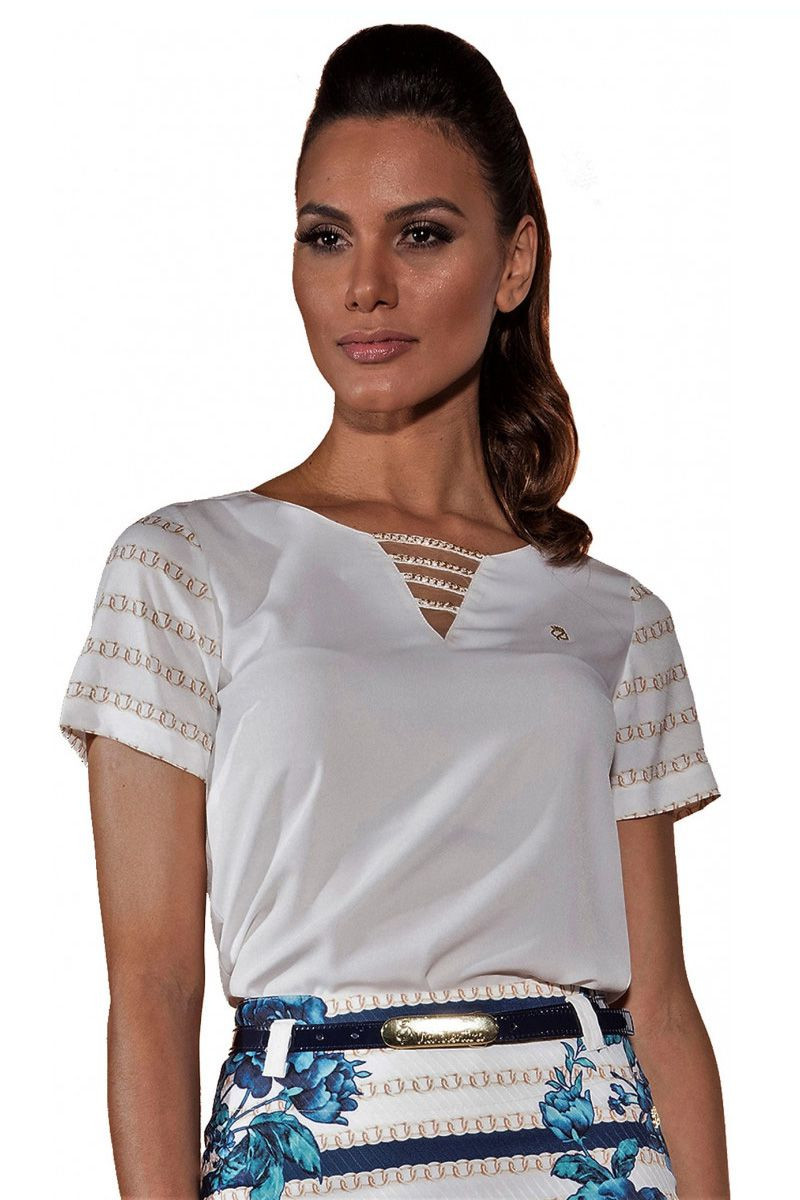 Blusa Crepe Off White Manga Estampa Correntes Via Tolentino