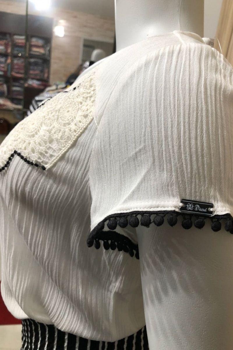 Blusa Feminina em Viscose Detalhe Gola D'azul Moda Feminina