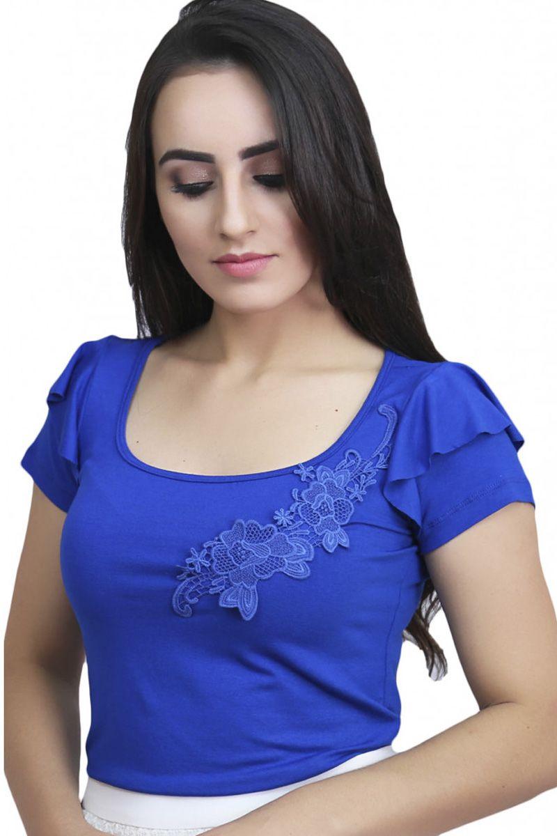 Blusa Malha Azul Babado na Cava Sofina Moda Evangélica