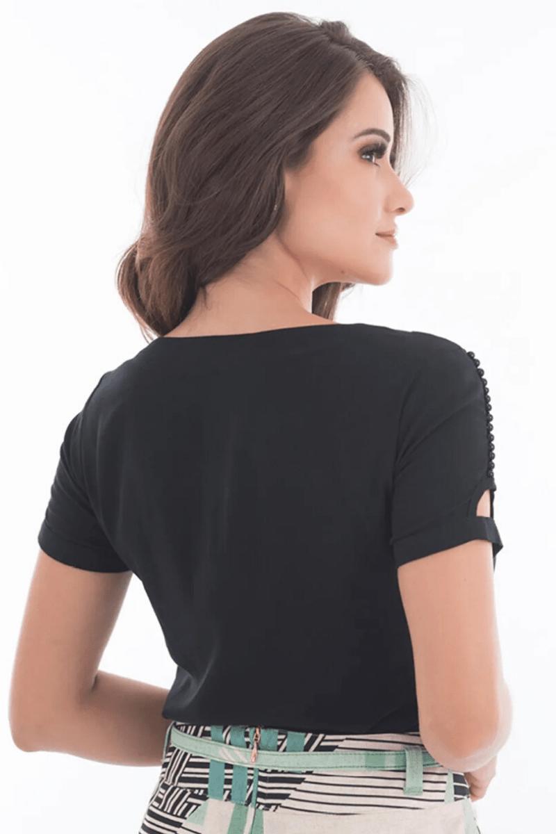 Blusa Preta Viscose Detalhe Bordado Via Tolentino Moda Evangélica