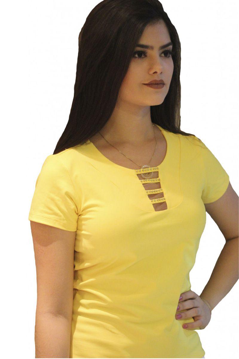Blusa Viscolight Amarela Vivace Moda Evangélica