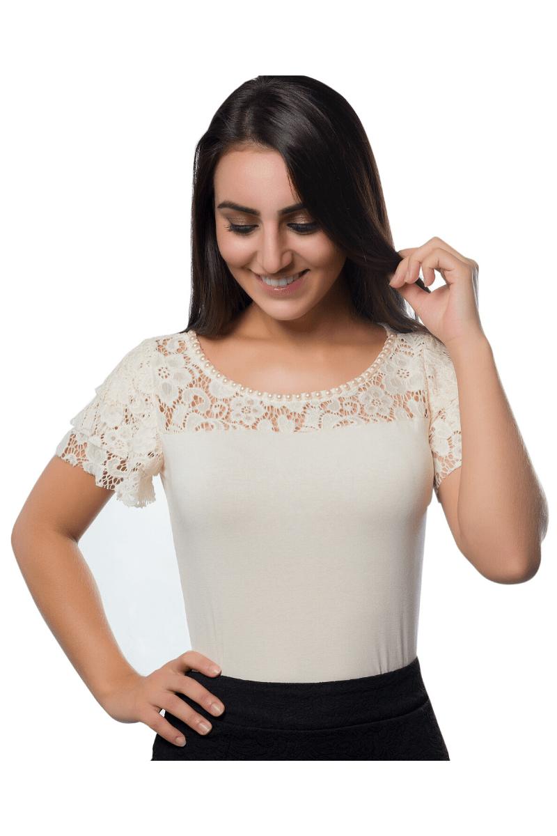 Blusa Viscolycra e Renda Moda Evangélica