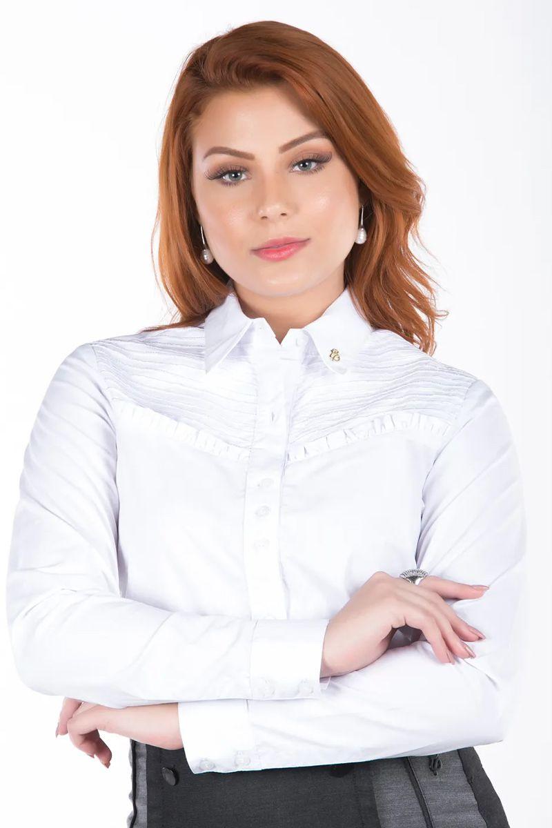 Camisa Feminina Branca Via Tolentino Moda Evangélica
