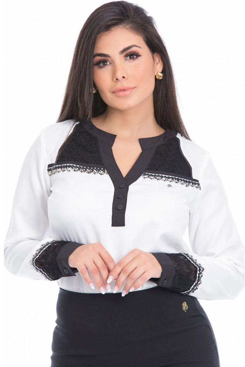 Camisa Feminina com Recortes e Renda Via Tolentino Moda Evangélica