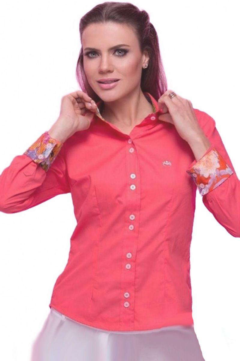 Camisa Feminina Punho Estampado Chemizz Moda Evangélica