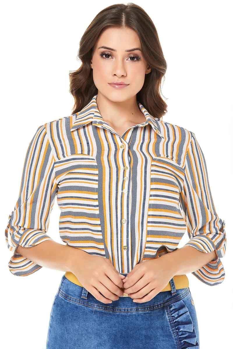 Camisa Via Tolentino Manga 3/4 de Listras Via Tolentino