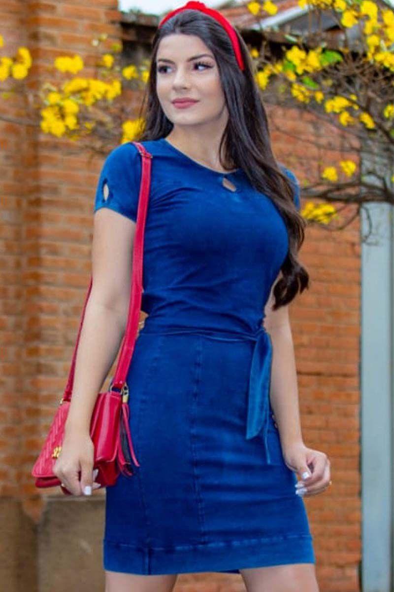 Conjunto Blusa Amárravel e Saia Básica em Malha Jeans Moda Evangélica