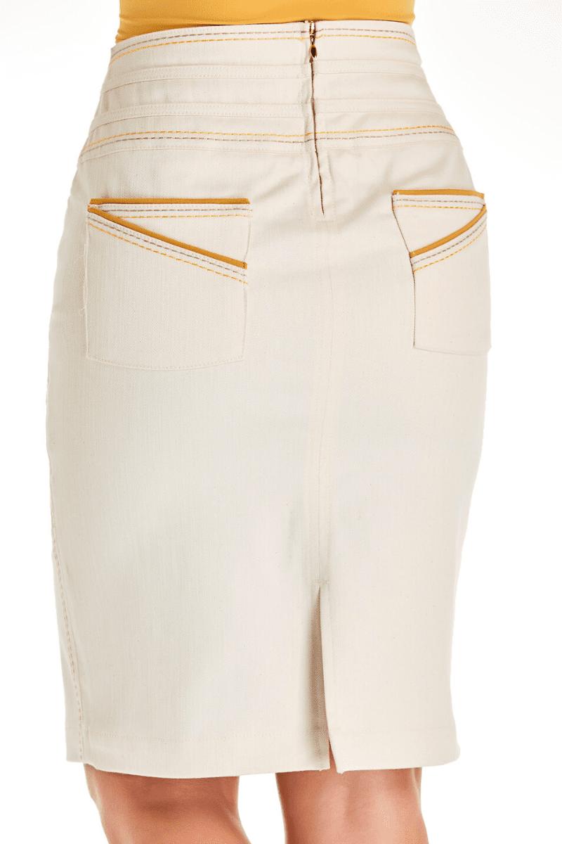 Conjunto Colete e Saia Jeans com Bordado Via Tolentino