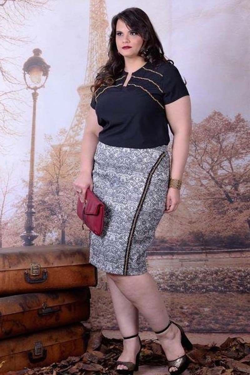Conjunto Plus Size Blusa decote V Moda Evangélica