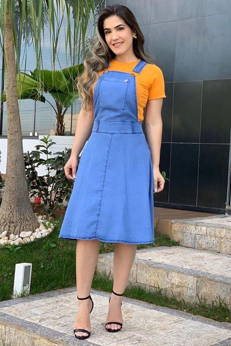 Jardineira-Salopete Godê Jeans Liocel