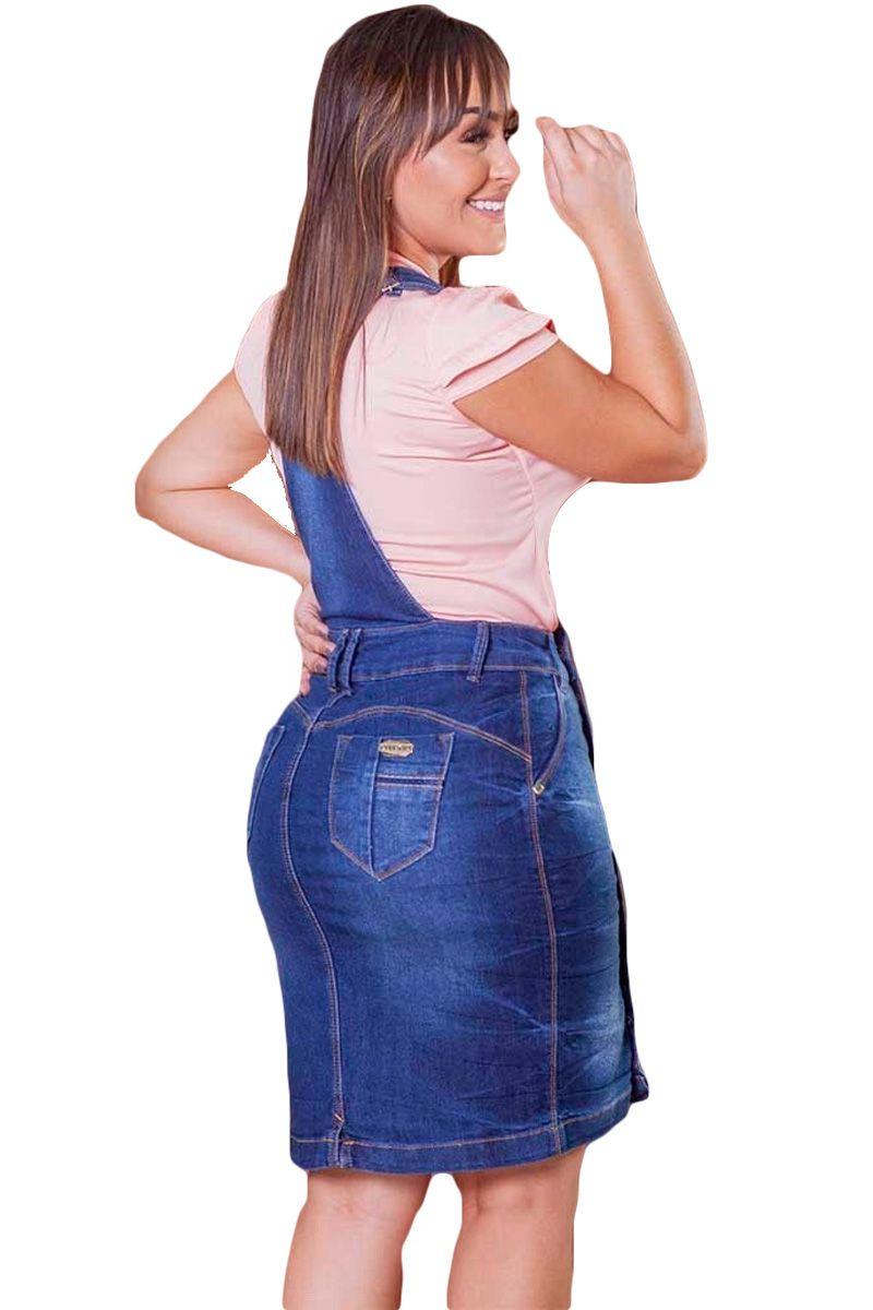Jardineira-Salopete Jeans Com Botões Moda Evangélica