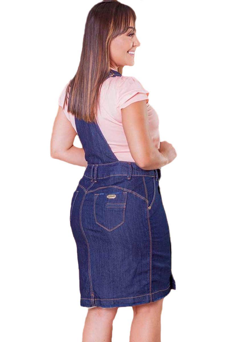 Jardineira-Salopete Jeans Escuro Com Botões Moda Evangélica