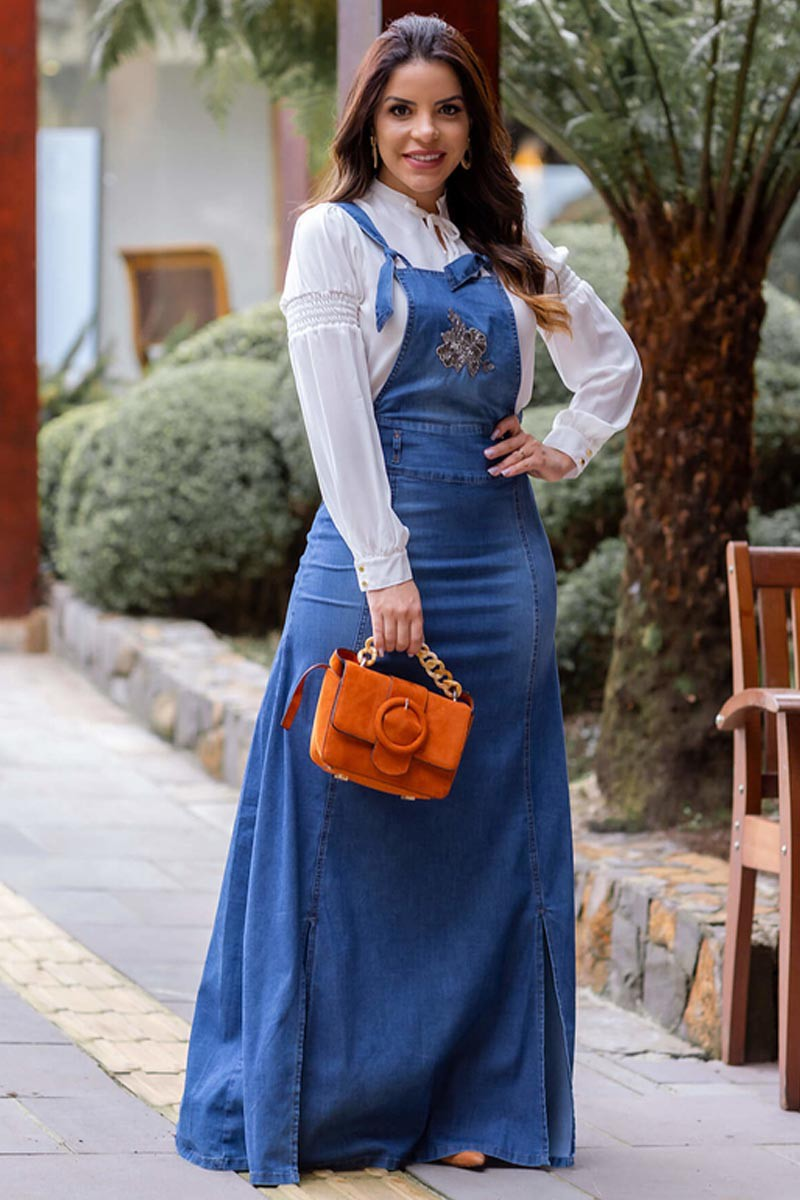 Jardineira-Salopete Jeans Longa Moda Evangélica