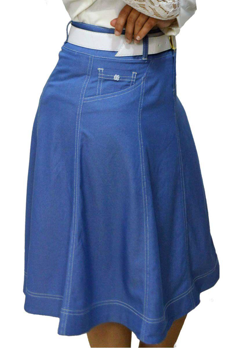 Saia Godê Evase D'azul Moda Evangelica