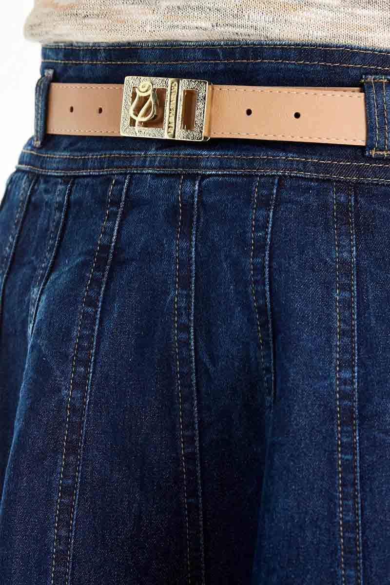 Saia Godê Jeans Com Recortes Via Tolentino