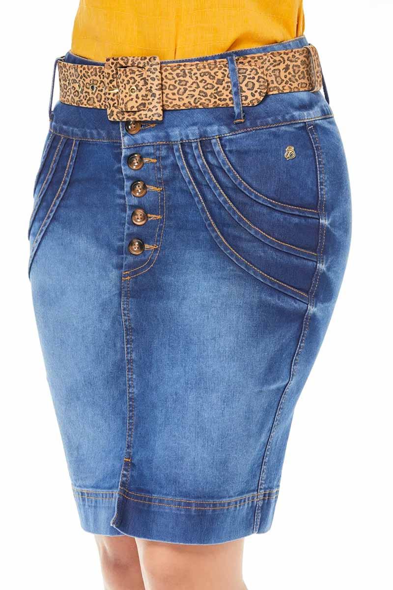 Saia Jeans Abertura Com Botões e Cinto de Onça Via Tolentino