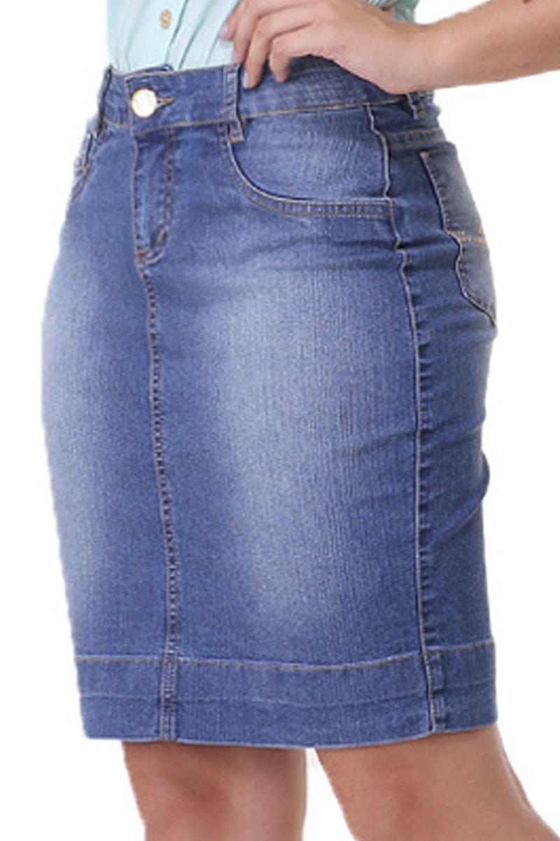 Saia Jeans Azul Claro Moda Evangélica