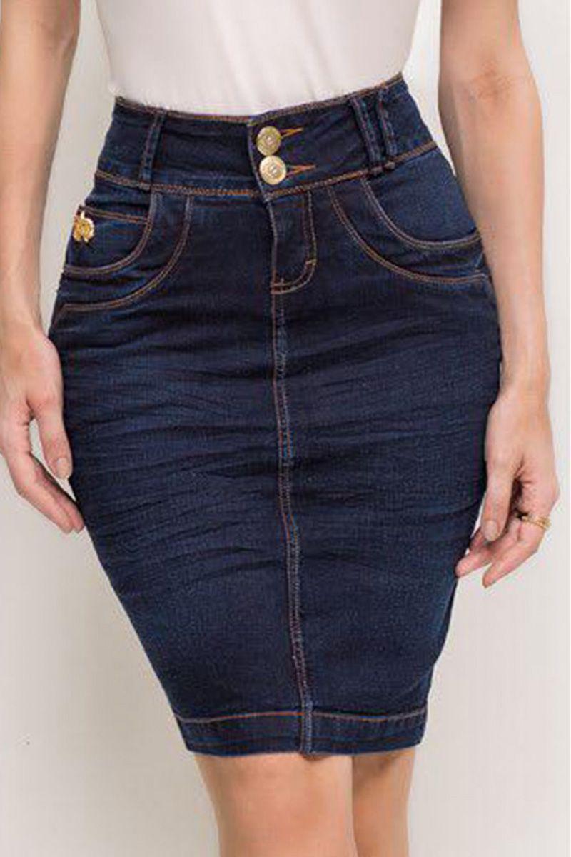 Saia Jeans Básica Laura Rosa Moda Evangélica